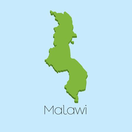 malawi: A 3D map on blue water background of Malawi Stock Photo