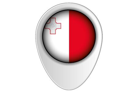 malta map: A 3D Map Pointer Flag Illustration of the country of  Malta