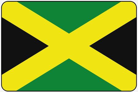 jamaica: A Flat Design Flag Illustration with Rounded Corners and Black Outline of the country of Jamaica
