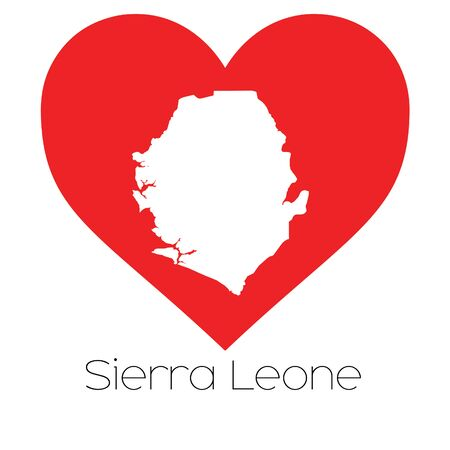 leone: A Heart illustration with the shape of Sierra Leone