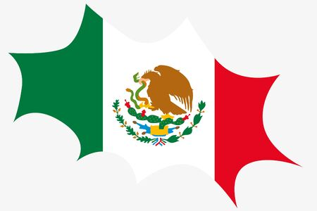 wit: An Explosion wit the flag of Mexico Stock Photo