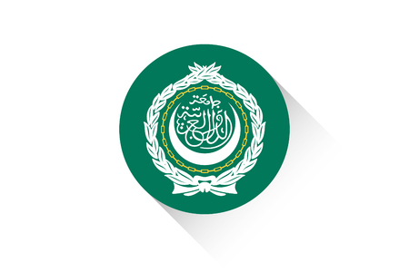 league: A Round flag with shadow of Arab League