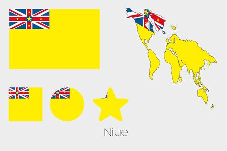 niue: Illustrated Multiple Shapes Set with the Flag of Niue Stock Photo