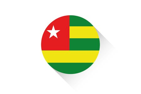 togo: A Round flag with shadow of Togo