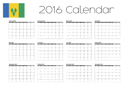 grenadines: A 2016 Calendar with the Flag of Saint Vincents and the Grenadines