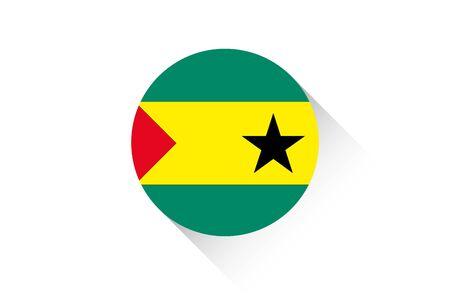 principe: Una bandera redonda con la sombra de Santo Tomé y Príncipe Foto de archivo