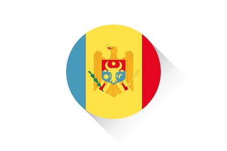 moldova: A Round flag with shadow of Moldova