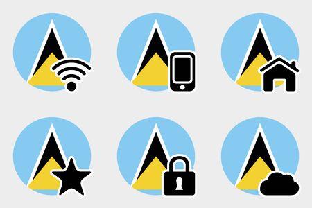 lucia: A Web Icon Set with the Flag of Saint Lucia