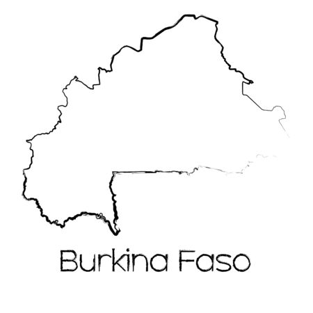 scribbled: A Scribbled Shape of the Country of Burkina Faso Stock Photo