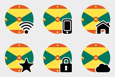 grenada: A Web Icon Set with the Flag of Grenada