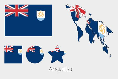 anguilla: Illustrated Multiple Shapes Set with the Flag of Anguilla