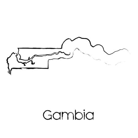 scribbled: A Scribbled Shape of the Country of Gambia