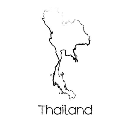 scribbled: A Scribbled Shape of the Country of Thailand