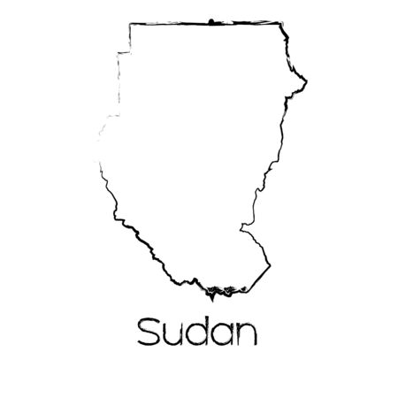scribbled: A Scribbled Shape of the Country of Sudan Illustration