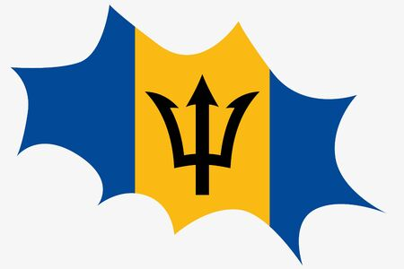 wit: An Explosion wit the flag of Barbados