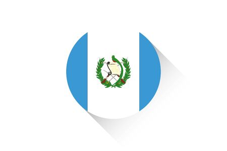 guatemala: A Round flag with shadow of Guatemala
