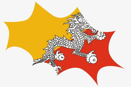 bhutan: Een explosie Wit de vlag van Bhutan Stock Illustratie