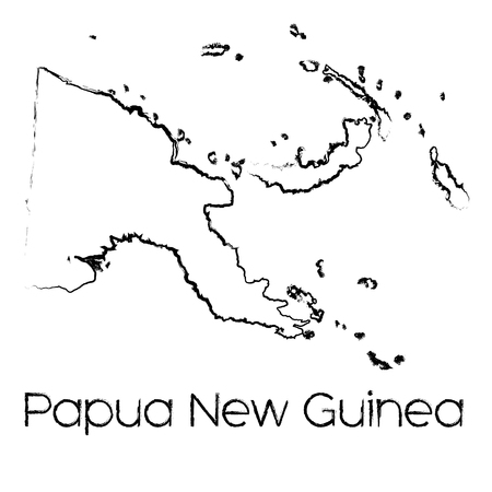 scribbled: A Scribbled Shape of the Country of Papua New Guinea Illustration