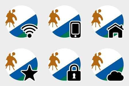 lesotho: A Web Icon Set with the Flag of Lesotho Illustration
