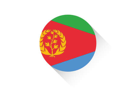 eritrea: A Round flag with shadow of Eritrea