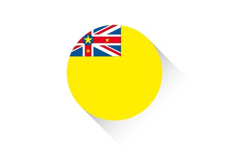 niue: A Round flag with shadow of Niue