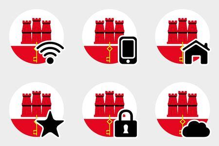 gibraltar: A Web Icon Set with the Flag of Gibraltar