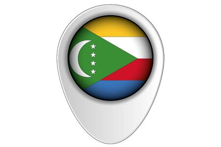 comoros: A 3D Map Pointer Flag Illustration of the country of  Comoros