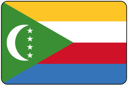 comoros: A Flat Design Flag Illustration with Rounded Corners and Black Outline of the country of Comoros