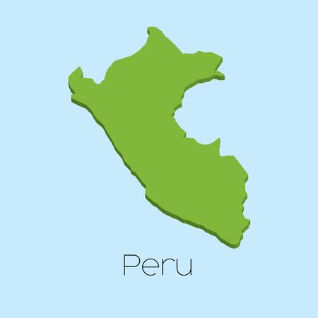 mapa del peru: Un mapa en 3D sobre fondo azul del agua de Perú