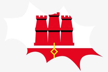gibraltar: An Explosion wit the flag of Gibraltar Illustration