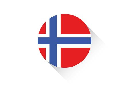 norway flag: A Round flag with shadow of Norway Illustration