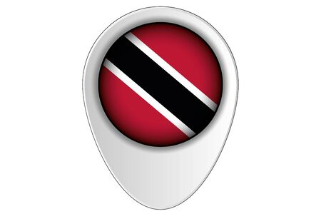 tobago: A 3D Map Pointer Flag Illustration of the country of  Trinidad and Tobago