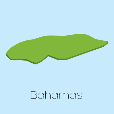 bahamas map: A 3D map on blue water background of Bahamas