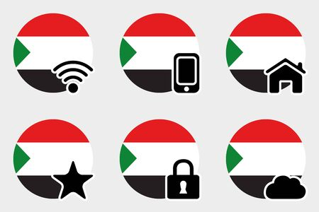 sudan: A Web Icon Set with the Flag of Sudan Illustration