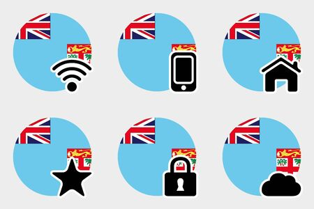 fiji: A Web Icon Set with the Flag of Fiji Illustration