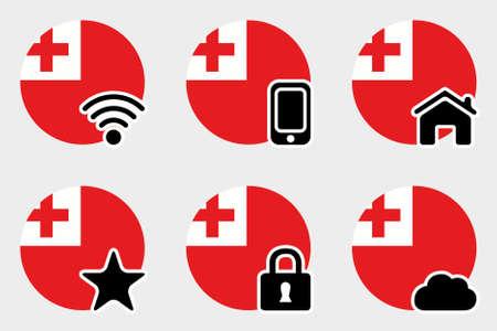 tonga: A Web Icon Set with the Flag of Tonga Illustration