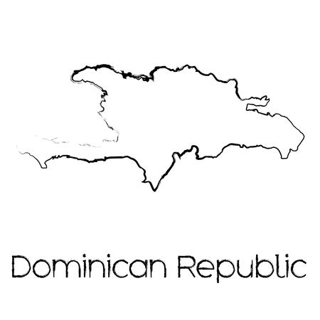 scribbled: A Scribbled Shape of the Country of Dominican Republic Illustration