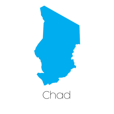 tchad: A Blue shape with name of the country of Chad