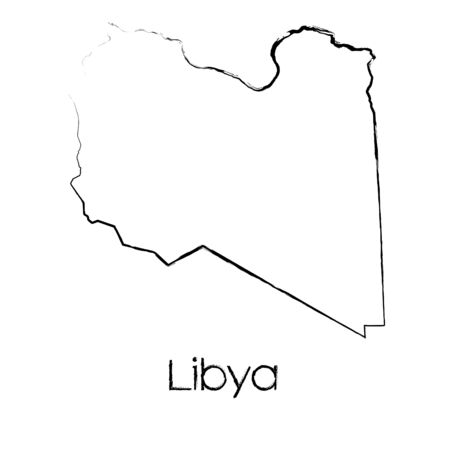 A Scribbled Shape of the Country of Libya