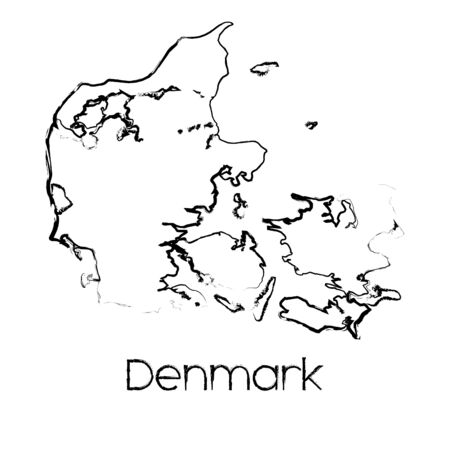 scribbled: A Scribbled Shape of the Country of Denmark Illustration