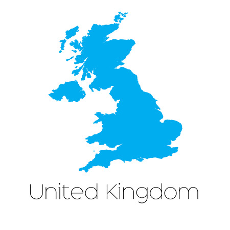 A Blue shape with name of the country of United Kingdom Illustration