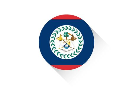 belize: A Round flag with shadow of Belize