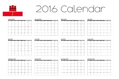 gibraltar: A 2016 Calendar with the Flag of Gibraltar