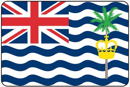 indian ocean: A Flat Design Flag Illustration with Rounded Corners and Black Outline of the country of British Indian Ocean Territory