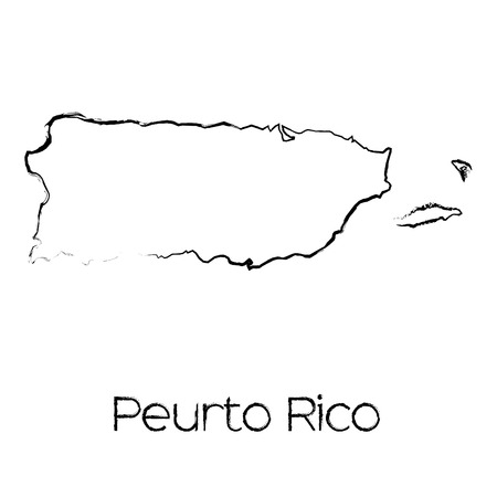scribbled: A Scribbled Shape of the Country of Puerto Rico