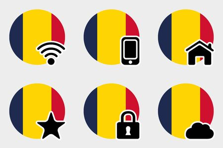 tchad: A Web Icon Set with the Flag of Chad