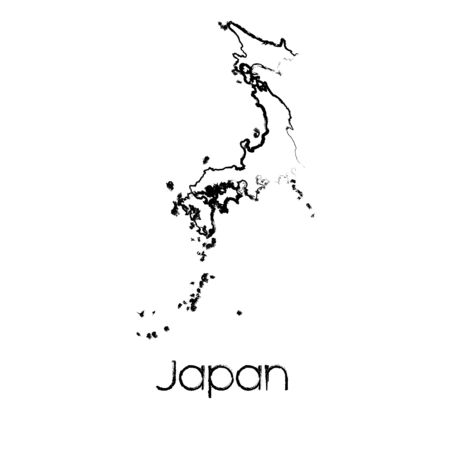 scribbled: A Scribbled Shape of the Country of Japan Illustration