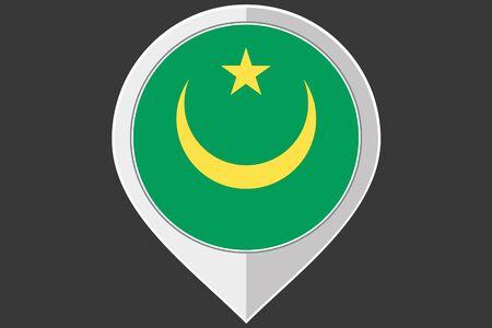 mauritania: A Pointer with the flag of Mauritania