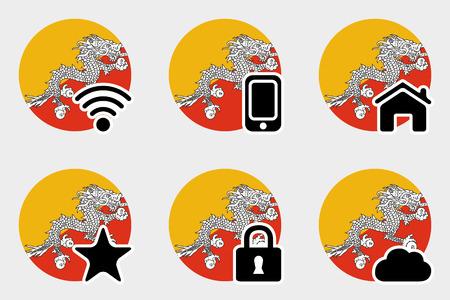 bhutan: Een Web Icon Set met de vlag van Bhutan Stock Illustratie
