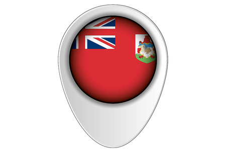 bermuda: A 3D Map Pointer Flag Illustration of the country of  Bermuda